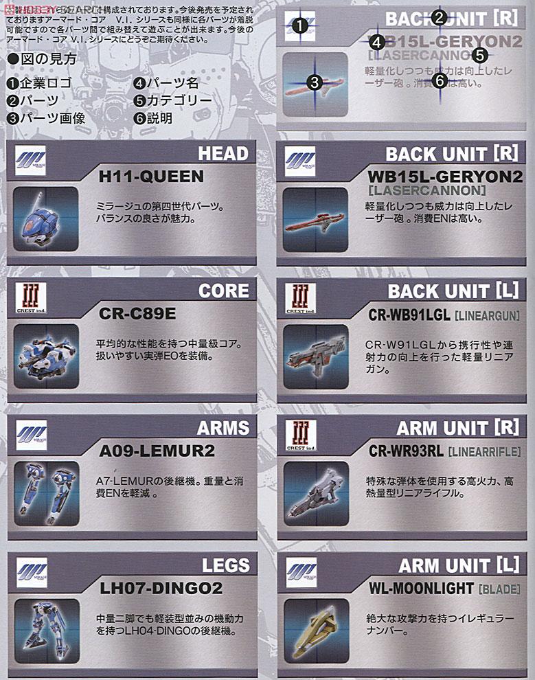 【再販】アーマード・コア V.I.シリーズ『クレスト CR-C89E オラクルVer.』1/72 プラモデル-025