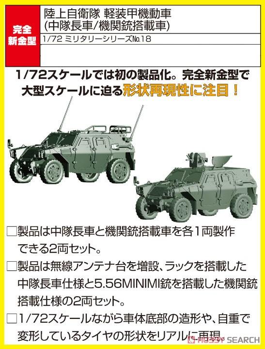 1/72 ミリタリーシリーズ No.18『陸上自衛隊 軽装甲機動車(中隊長車/機関銃搭載車)』プラモデル-001