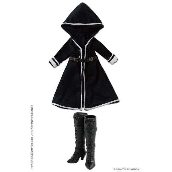 ピコニーモサイズ コスチューム『ルルナ/Luluna フードコート&ブーツセット ブラック』1/12 ドール服