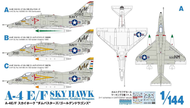 """1/144『A-4E/F スカイホーク """"ダムバスターズ/ゴールデンドラゴンズ""""(2機セット)』プラモデル-011"""