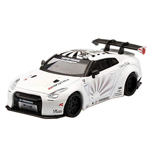 MINI GT 1/64『LB★WORKS Nissan GT-R R35 タイプ1 リアウイング バージョン 1+2 ホワイト【右ハンドル】』ミニカー