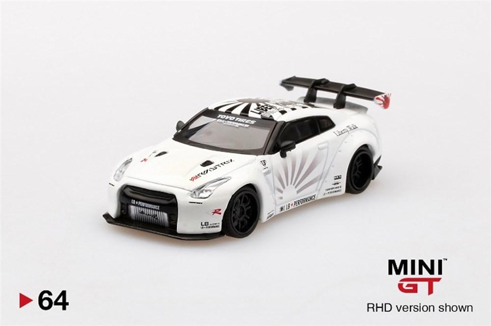 MINI GT 1/64『LB★WORKS Nissan GT-R R35 タイプ1 リアウイング バージョン 1+2 ホワイト【右ハンドル】』ミニカー-001