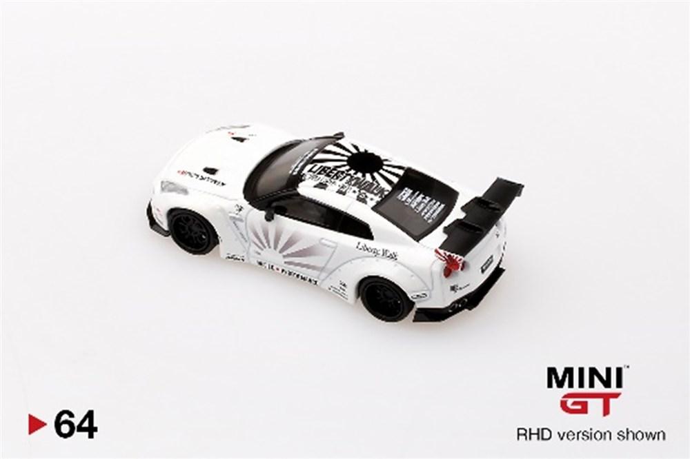 MINI GT 1/64『LB★WORKS Nissan GT-R R35 タイプ1 リアウイング バージョン 1+2 ホワイト【右ハンドル】』ミニカー-003