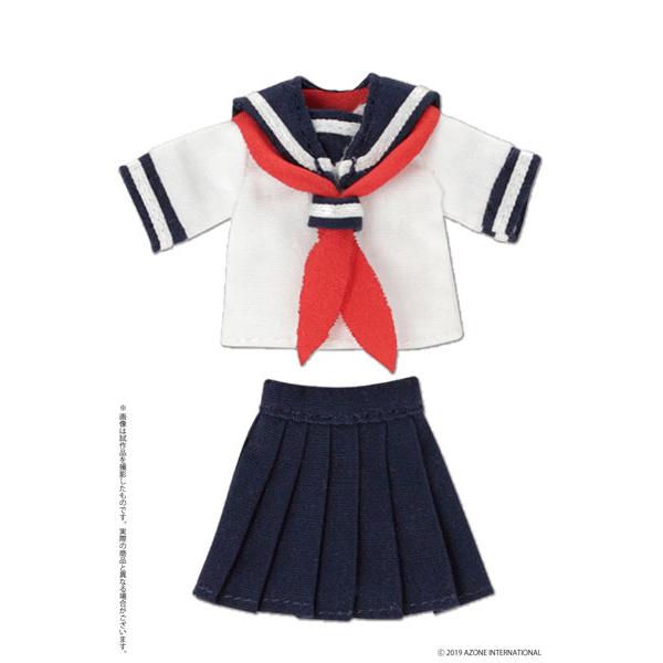 ピコニーモサイズ コスチューム『半袖セーラー服セットII ネイビー×レッド』ドール服