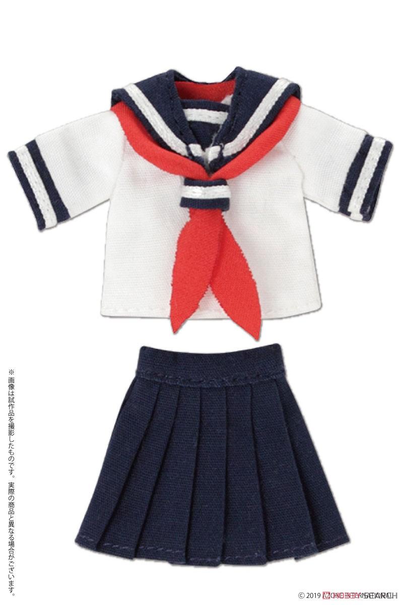 ピコニーモサイズ コスチューム『半袖セーラー服セットII ネイビー×レッド』ドール服-001