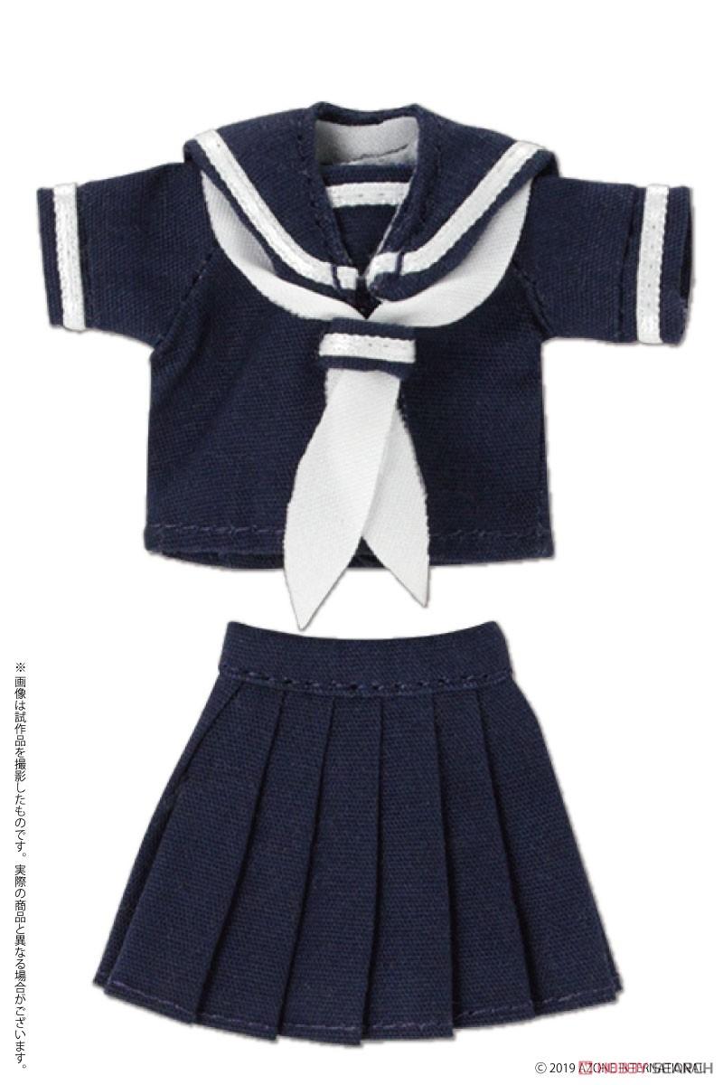 ピコニーモサイズ コスチューム『半袖セーラー服セットII ネイビー×レッド』ドール服-003