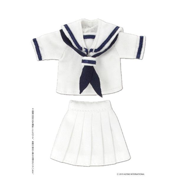ピコニーモサイズ コスチューム『半袖セーラー服セットII ホワイト×ネイビー』ドール服