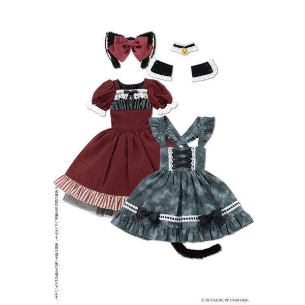50cmコレクション『月夜のいたずら猫メイドセット ボルドー×ディープグレー』1/3 ドール服