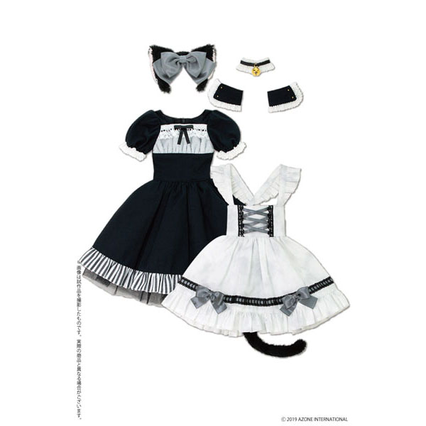 50cmコレクション『月夜のいたずら猫メイドセット ブラック×ライトグレー』1/3 ドール服
