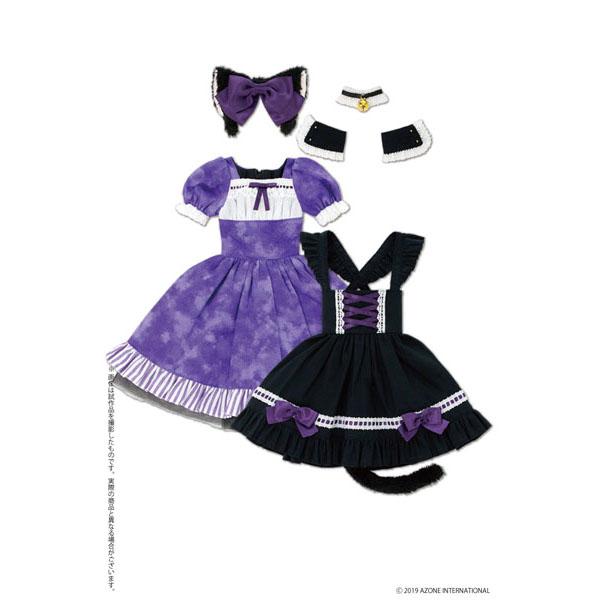 50cmコレクション『月夜のいたずら猫メイドセット パープル×ブラック』1/3 ドール服