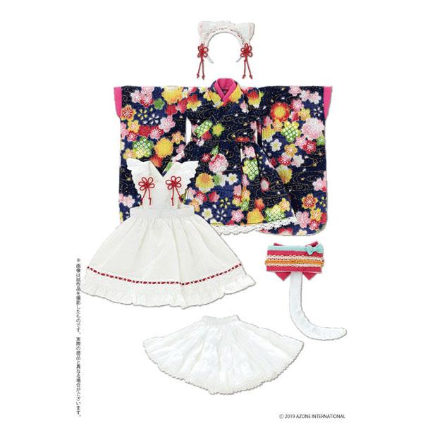 ピュアニーモ用 PNS『ねこみみ和装メイドセットIII 紺』1/6 ドール服