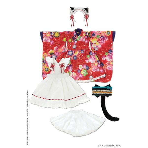 ピュアニーモ用 PNS『ねこみみ和装メイドセットIII 赤』1/6 ドール服