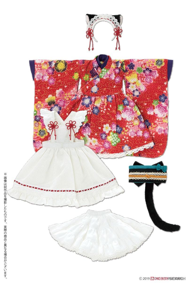 ピュアニーモ用 PNS『ねこみみ和装メイドセットIII 赤』1/6 ドール服-001