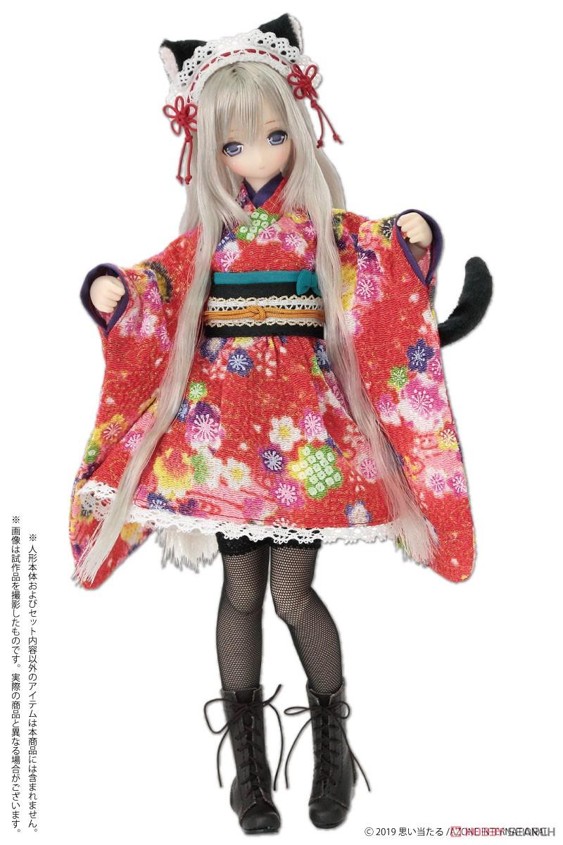 ピュアニーモ用 PNS『ねこみみ和装メイドセットIII 赤』1/6 ドール服-003