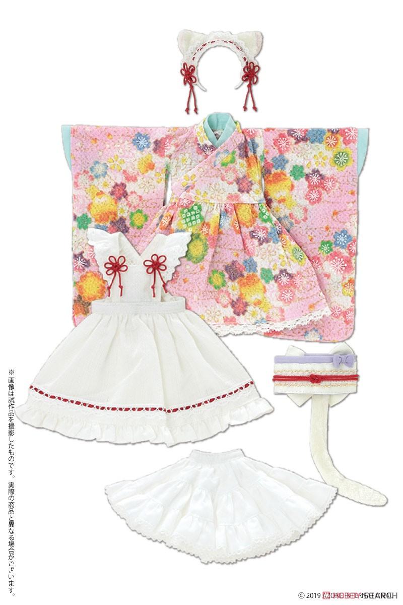 ピュアニーモ用 PNS『ねこみみ和装メイドセットIII 赤』1/6 ドール服-004