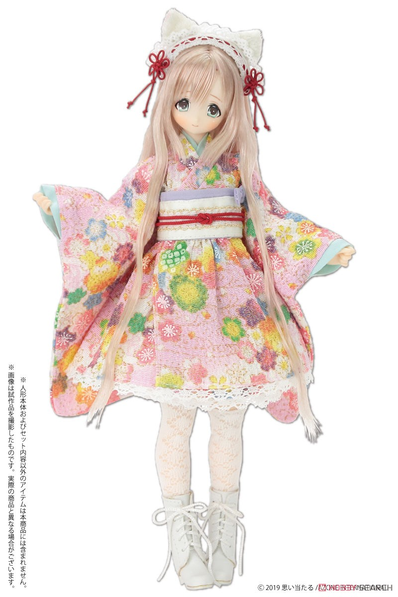 ピュアニーモ用 PNS『ねこみみ和装メイドセットIII 赤』1/6 ドール服-006