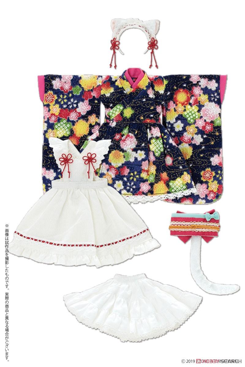 ピュアニーモ用 PNS『ねこみみ和装メイドセットIII 赤』1/6 ドール服-007