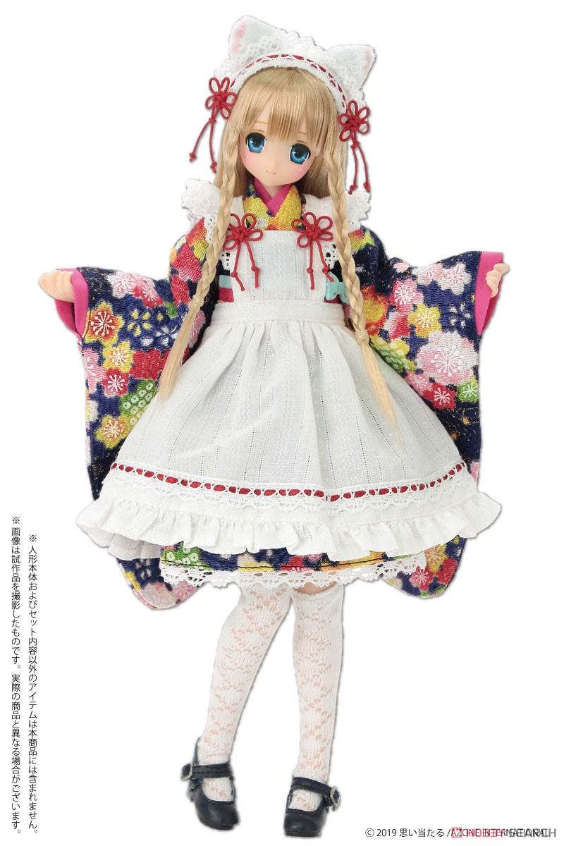 ピュアニーモ用 PNS『ねこみみ和装メイドセットIII 赤』1/6 ドール服-008