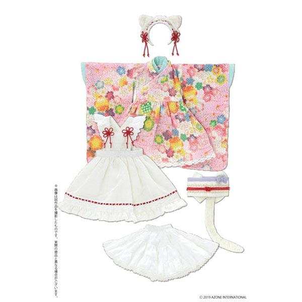 ピュアニーモ用 PNS『ねこみみ和装メイドセットIII ピンク』1/6 ドール服