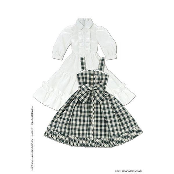 45cmコレクション『陽だまりのふんわりチェックジャンスカセット グリーンチェック』1/3 ドール服