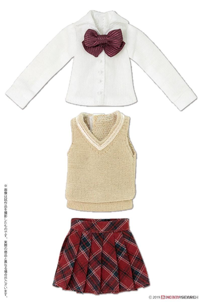 ピコニーモサイズ コスチューム『アフタースクールセット(キャメル×レッド)』1/12 ドール服-001