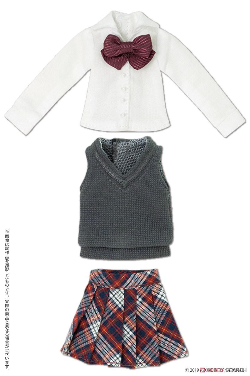 ピコニーモサイズ コスチューム『アフタースクールセット(キャメル×レッド)』1/12 ドール服-005