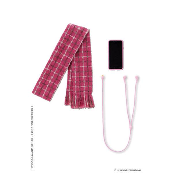 和遥キナ学校制服コレクション『マフラー&スマホセット(ピンクチェック×ピンク)』1/3 ドール服