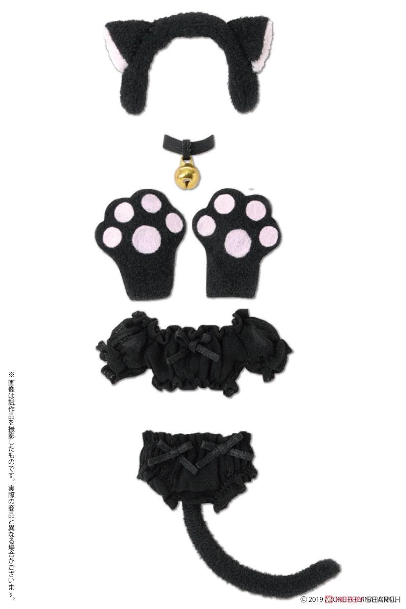 ピコニーモサイズ コスチューム『ふわくしゅ にゃんこセット ブラック』1/12 ドール服-001