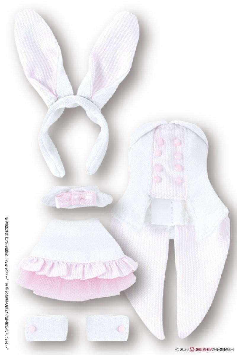 ピコニーモサイズ コスチューム『ハッピィ☆バニードレスセット(ホワイト×ピンク)』1/12 ドール服-001