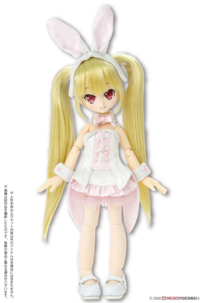 ピコニーモサイズ コスチューム『ハッピィ☆バニードレスセット(ホワイト×ピンク)』1/12 ドール服-002