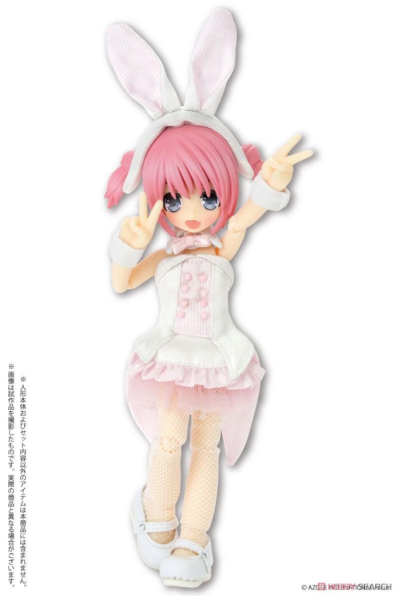 ピコニーモサイズ コスチューム『ハッピィ☆バニードレスセット(ホワイト×ピンク)』1/12 ドール服-003
