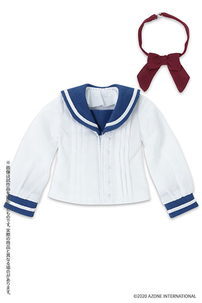 ピュアニーモ用 PNXS『セーラーリボンブラウスII ブルー×ボルドー』1/6 ドール服
