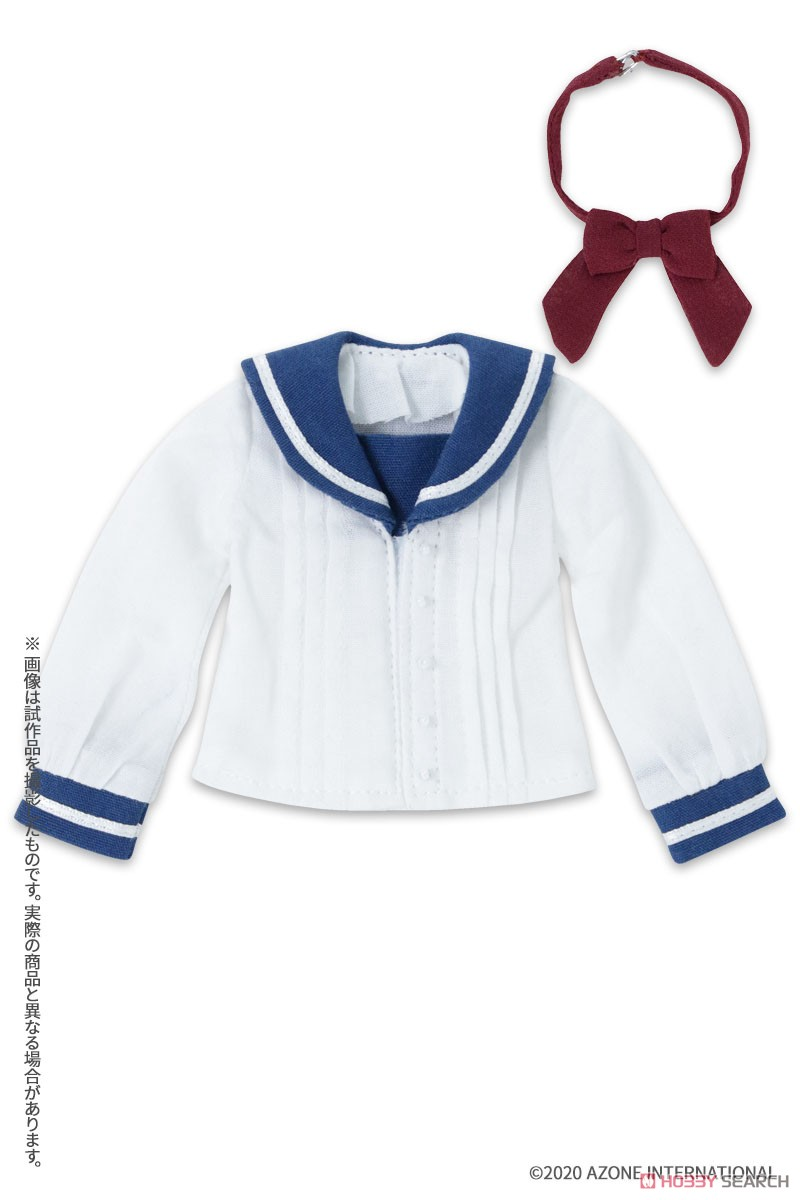 ピュアニーモ用 PNXS『セーラーリボンブラウスII ブルー×ボルドー』1/6 ドール服-001