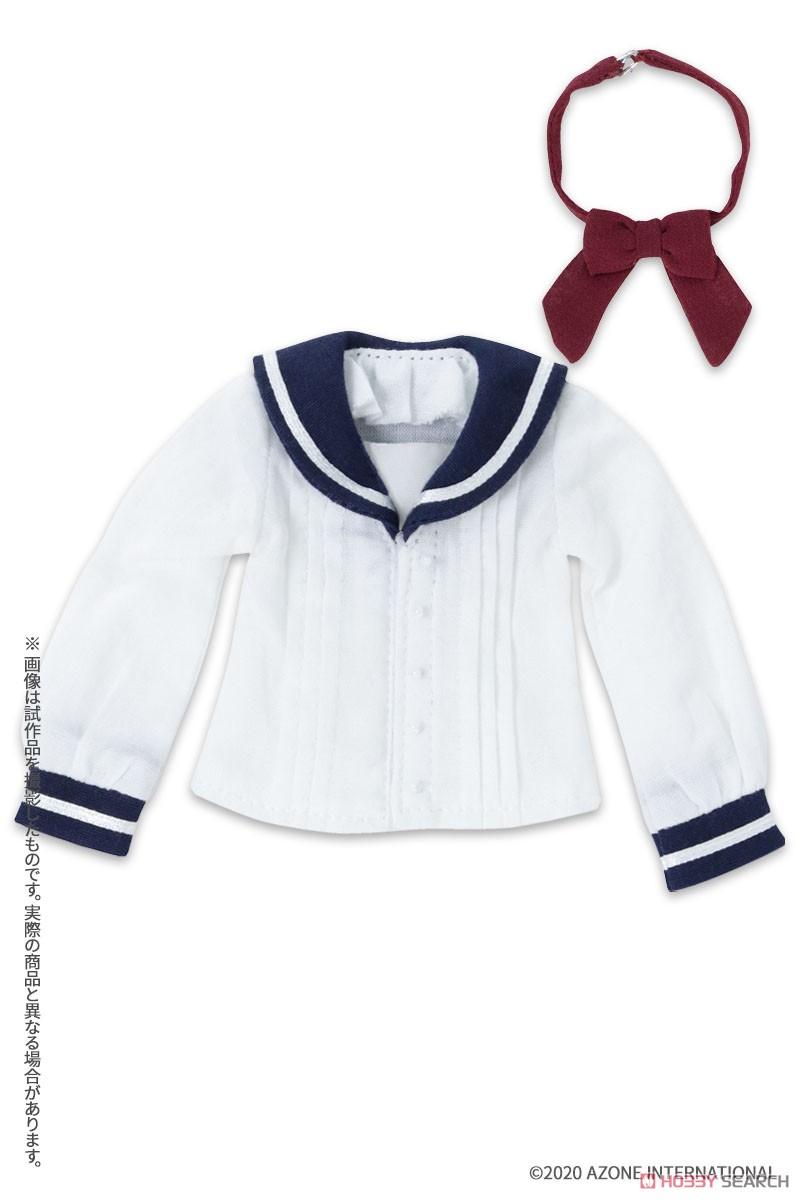 ピュアニーモ用 PNXS『セーラーリボンブラウスII ブルー×ボルドー』1/6 ドール服-003