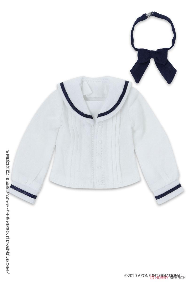 ピュアニーモ用 PNXS『セーラーリボンブラウスII ブルー×ボルドー』1/6 ドール服-006