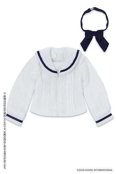 ピュアニーモ用 PNXS『セーラーリボンブラウスII ホワイト×ネイビー』1/6 ドール服