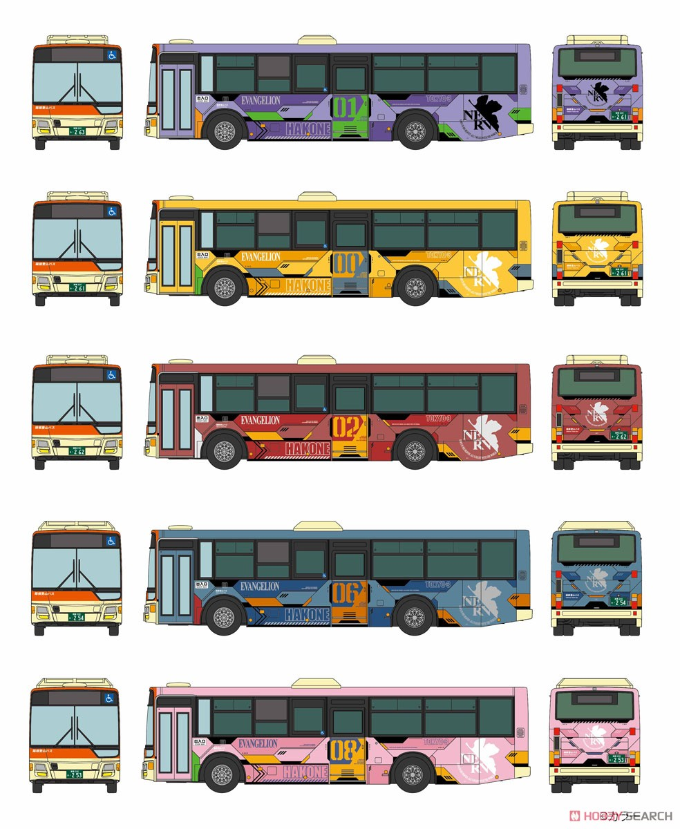 ザ・バスコレクション『箱根登山バス エヴァンゲリオンバス5台セット』1/150 Nゲージ-002