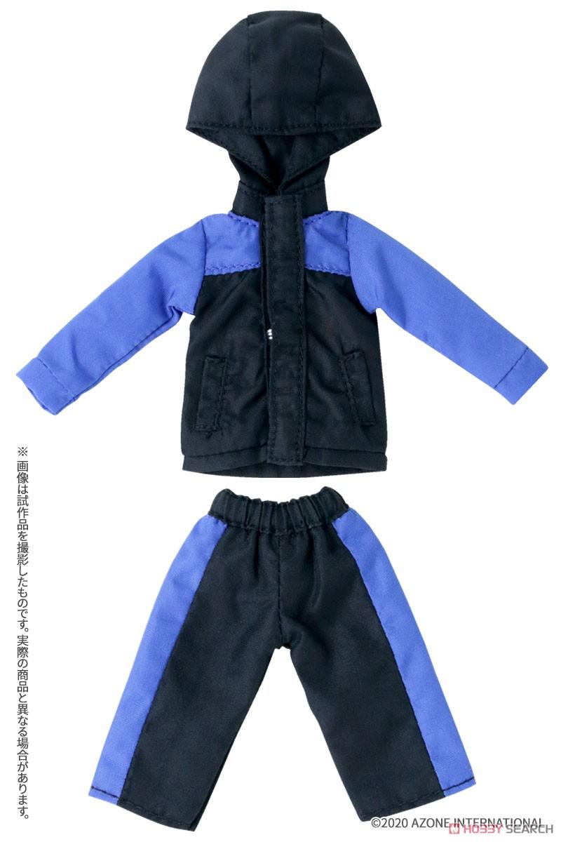 ピコニーモサイズ コスチューム『マウンテンパーカー&ショートパンツセット[ブラック×ブルー]』1/12 ドール服-001