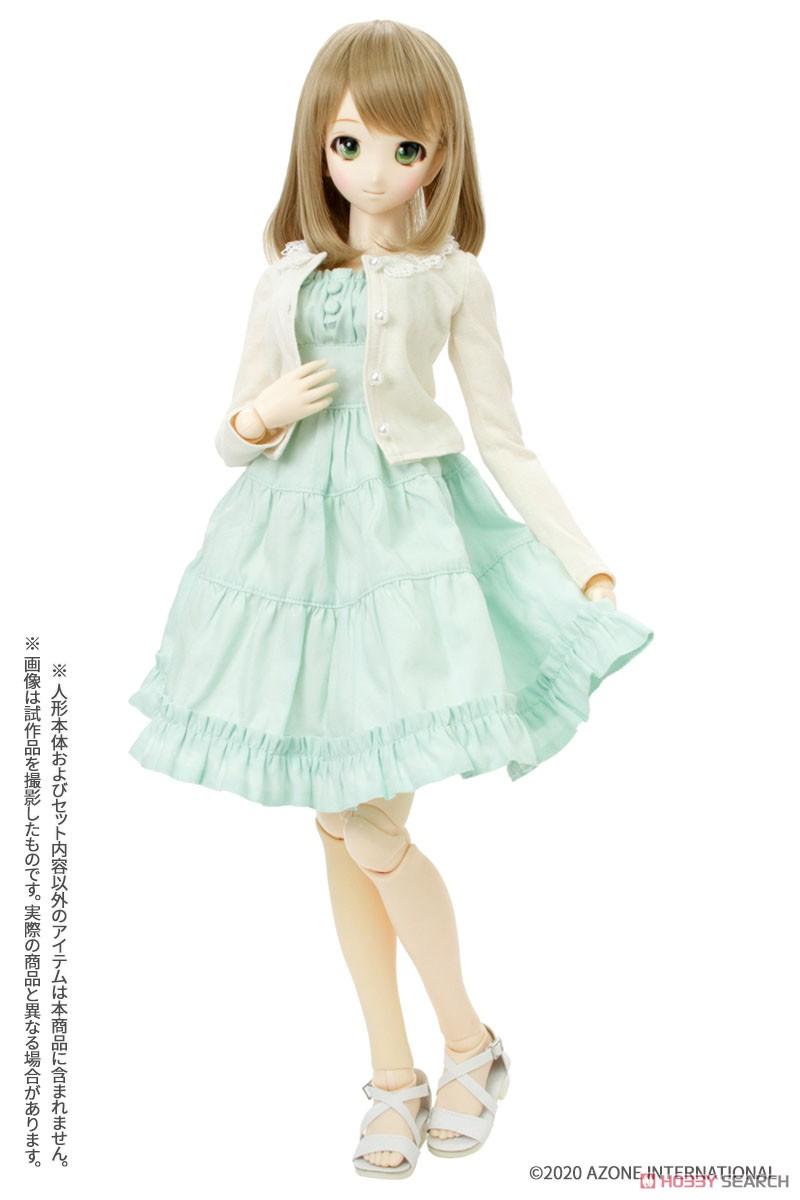 50cmコレクション『ふんわりカーディガン&キャミワンピsetII[ベージュ×グリーン]』1/3 ドール服-002