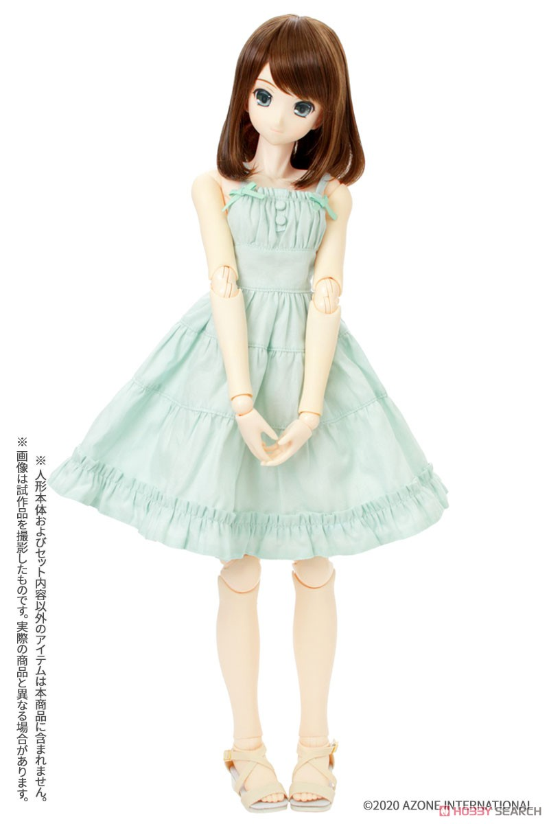 50cmコレクション『ふんわりカーディガン&キャミワンピsetII[ベージュ×グリーン]』1/3 ドール服-003