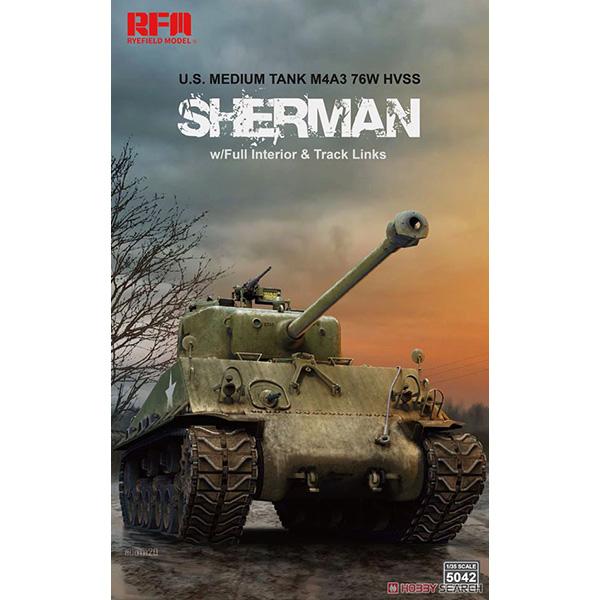 1/35『M4A3 76W HVSS シャーマン 中戦車 w/可動式履帯&フルインテリア』プラモデル