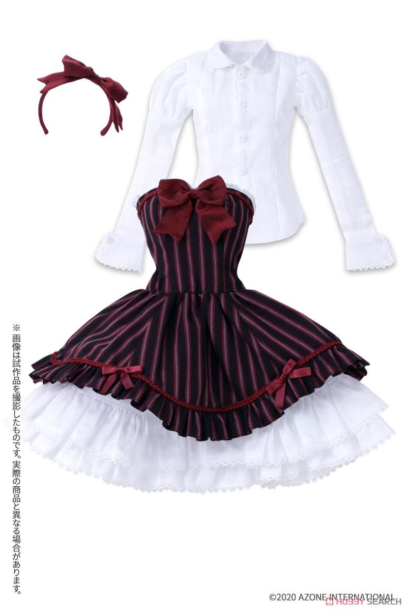 50cmコレクション『赤い鳥のカノンドレス[ブラックストライプ]セット』1/3 ドール服-001