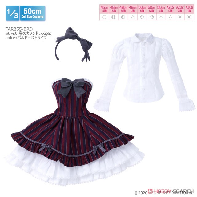 50cmコレクション『赤い鳥のカノンドレス[ブラックストライプ]セット』1/3 ドール服-006
