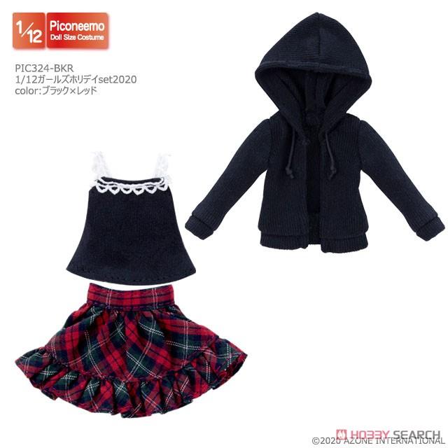 ピコニーモサイズ コスチューム『ガールズホリデイセット2020[ブラック×レッド]』1/12 ドール服-002