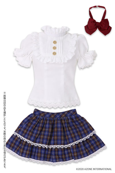 45cmコレクション『ガーリィフリルスカート[ブルー×ブラウンチェック]セット』1/3 ドール服