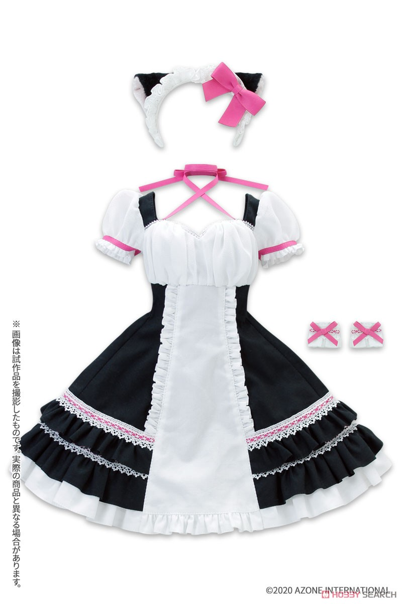 AZO2『シャットノワールドレス[ブラック×ベリーピンク]セット』1/3 ドール服-001