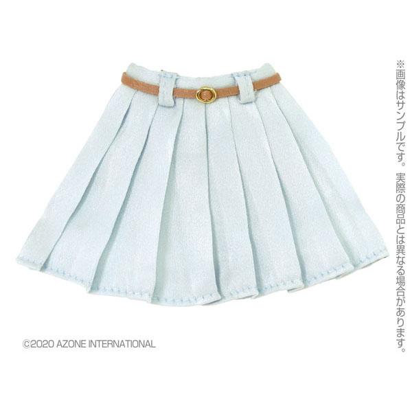 ピュアニーモ用 PNM『レザーベルトプリーツミニスカート[サックス]』1/6 ドール服