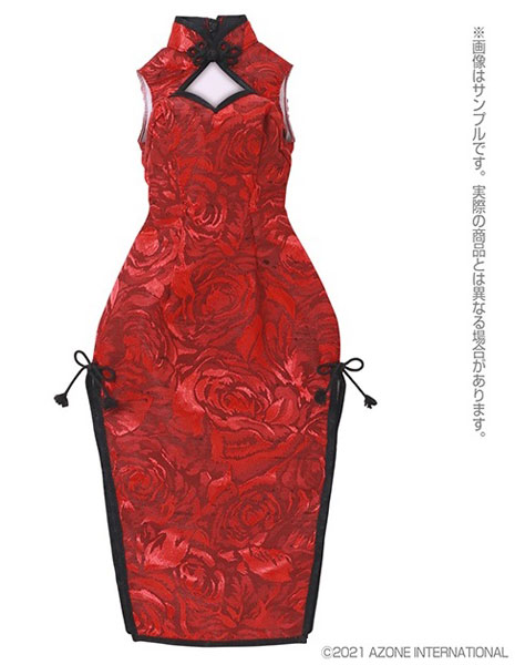 AZO2『チャイナドレス~華咲く薔薇~[ボルドー×ブラック]』1/3 ドール服