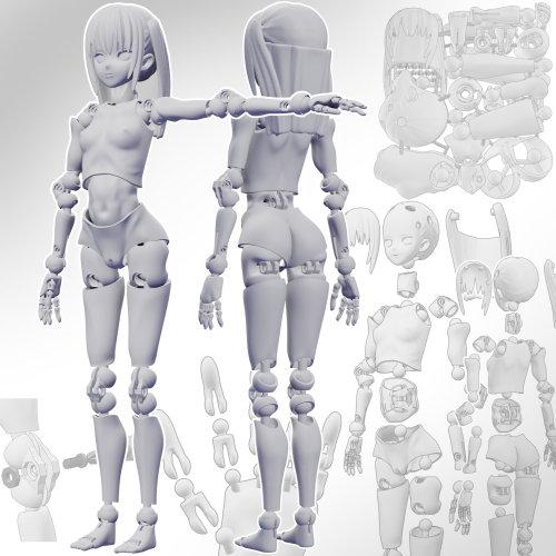 里好『漫画家の作った1/6可動デッサンドール2少女』3Dプリンタ製デッサンドール組み立てキット-003