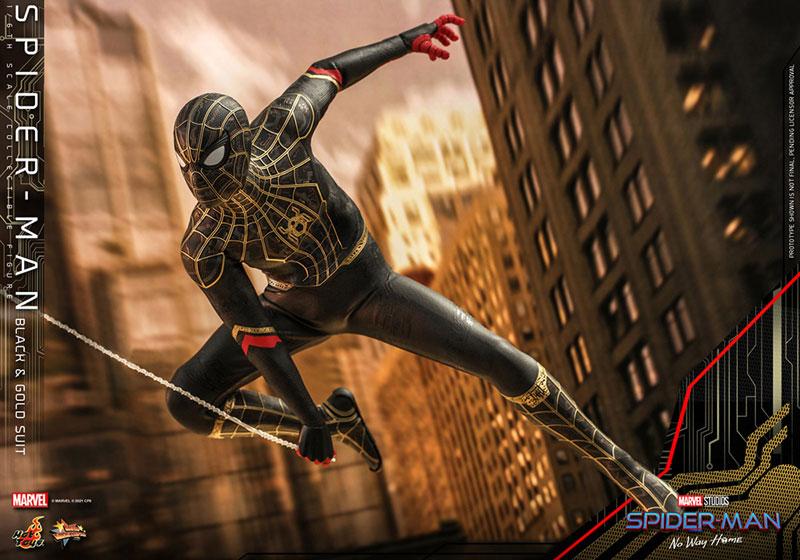 ムービー・マスターピース『スパイダーマン ブラック&ゴールドスーツ』スパイダーマン: ノー・ウェイ・ホーム 1/6 可動フィギュア-009